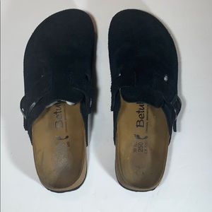 Black Suede Betula Birkenstock Clogs